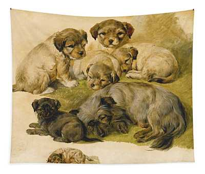 Study Of A Terrier And Puppies Tapestry