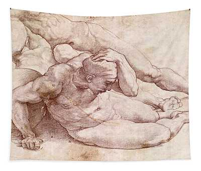 Study Of Three Male Figures Tapestry