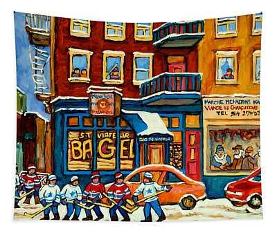 St.viateur Bagel Hockey Montreal Tapestry