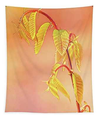 Stylized Baby Chestnut Leaves Tapestry
