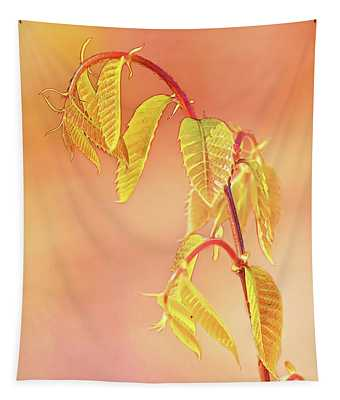 Stylized Baby Chestnut Leaves Tapestry