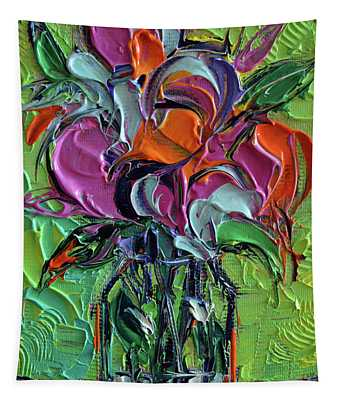 Stylized Bouquet On Green Tapestry