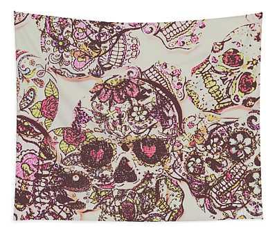 Sugarskull Punk Patchwork Tapestry