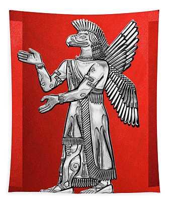 Sumerian Deities - Silver God Ninurta Over Red Canvas Tapestry