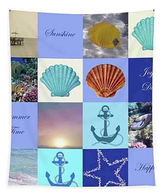 Summer Beach House Collage Tapestry