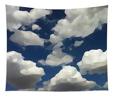 Tapestry featuring the digital art Summer Clouds In A Blue Sky by Shelli Fitzpatrick