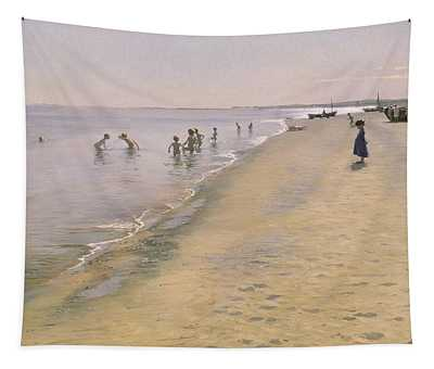 Summer Day At The South Beach Of Skagen Tapestry