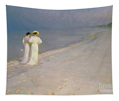Summer Evening On The Skagen Southern Beach With Anna Ancher And Marie Kroyer Tapestry