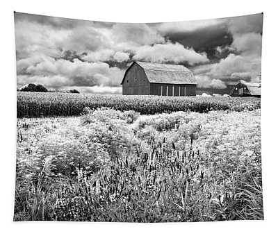 Summer Flowers In Black And White Tapestry