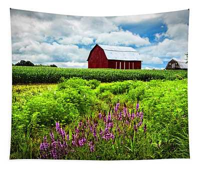 Summer Flowers In The Fields Tapestry