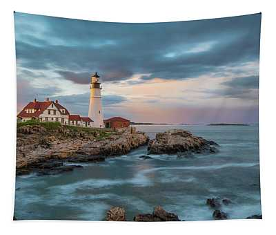 Summer Sunset At Portland Head Light Tapestry