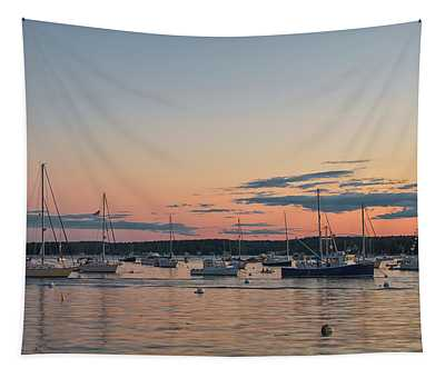 Summer Sunset In Boothbay Harbor Tapestry