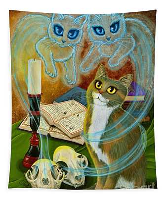 Summoning Old Friends - Ghost Cats Magic Tapestry