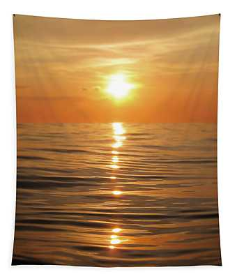 Sun Setting Over Calm Waters Tapestry