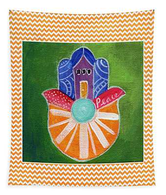 Sunburst Hamsa With Chevron Border Tapestry