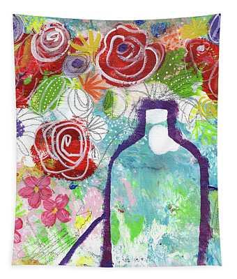 Sunday Market Flowers 2- Art By Linda Woods Tapestry