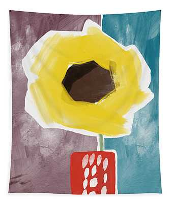 Sunflower In A Small Vase- Art By Linda Woods Tapestry