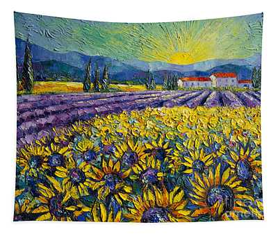 Sunflowers And Lavender Field - The Colors Of Provence Modern Impressionist Palette Knife Painting Tapestry