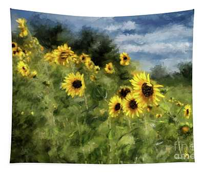 Sunflowers Bowing And Waving Tapestry