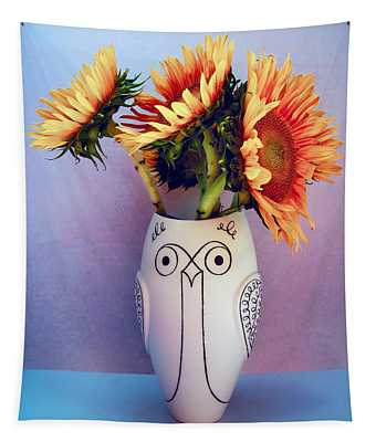 Sunflowers In Owl Vase Tournesol Tapestry