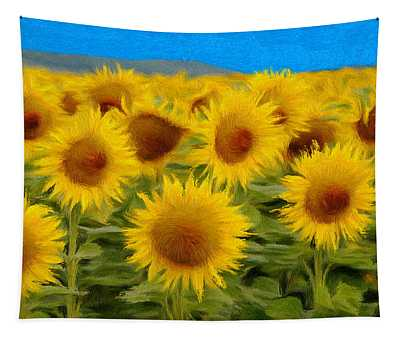 Sunflowers In The Field Tapestry