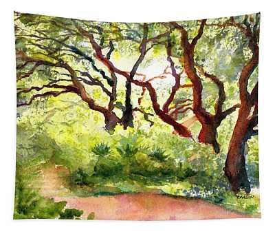 Sunlit Wooded Path Tapestry