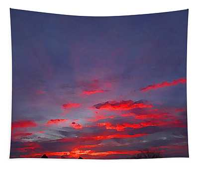 Tapestry featuring the digital art Sunrise Abstract, Red Oklahoma Morning by Shelli Fitzpatrick