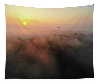 Tapestry featuring the photograph Sunrise And Morning Fog Warm Orange Light by Matthias Hauser
