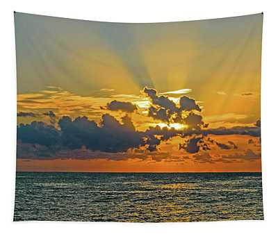 Sunrise Seascape With Crepuscula Rays Tapestry