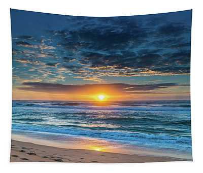 Sunrise Seascape With Footprints In The Sand Tapestry