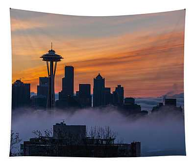 Sunrise Seattle Skyline Above The Fog Tapestry