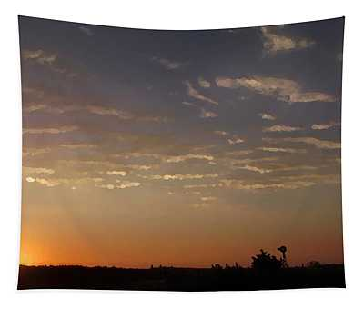 Sunrise With Windmill Tapestry