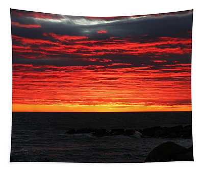 Sunset And Jetty Tapestry