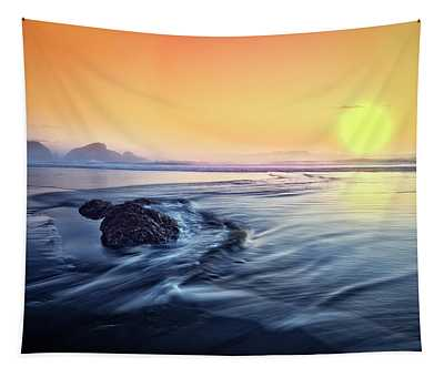 Sunset At Low Tide Tapestry
