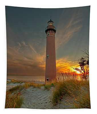 Sunset At Petite Pointe Au Sable Tapestry