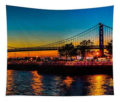 Sunset At The Ben Franklin Tapestry
