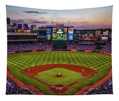 Sunset At Turner Field - Home Of The Atlanta Braves Tapestry