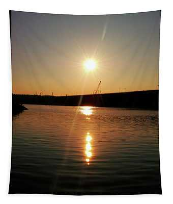 Sunset At Wolf Creek Dam Tapestry