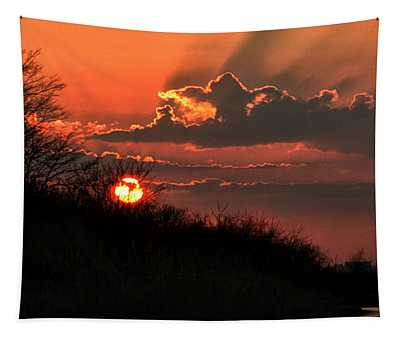 Sunset Behind A Knoll Tapestry