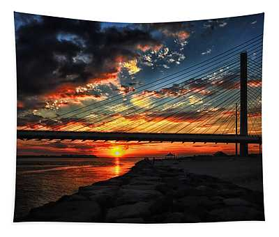 Sunset Bridge At Indian River Inlet Tapestry