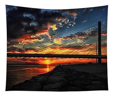 Sunset Bridge At Indian River Inlet Tapestry