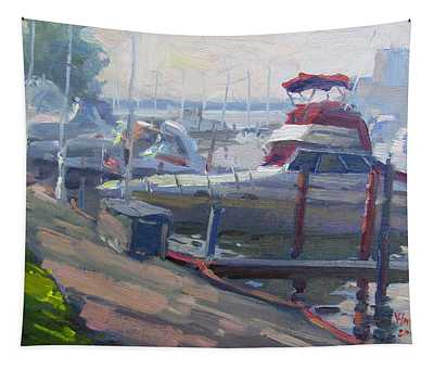 Sunset By The Boats Tapestry