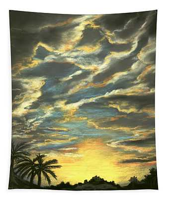 Tapestry featuring the painting Sunset Clouds by Anastasiya Malakhova