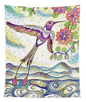 Sunset  Hummingbird Tapestry