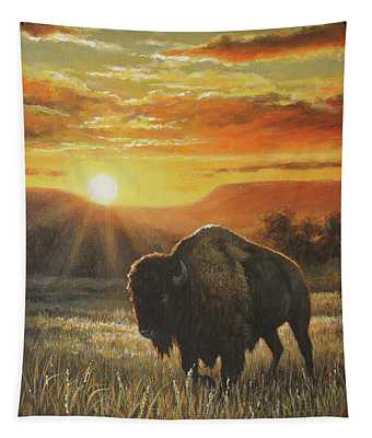 Sunset In Bison Country Tapestry