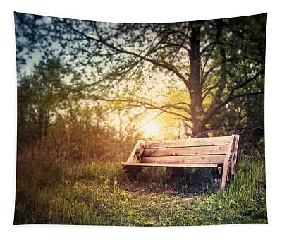 Sunset On A Wooden Bench Tapestry