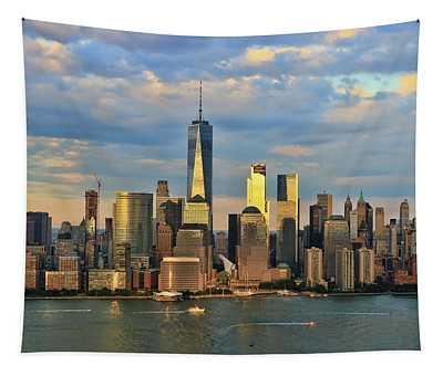 Sunset On Lower Manhattan Tapestry