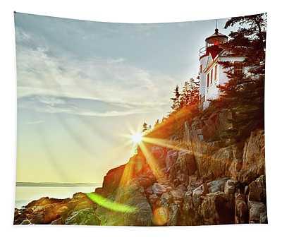 Ocean Sunset On Maine's Bass Harbor Lighthouse Tapestry
