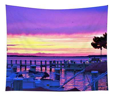 Sunset On The Docks Tapestry