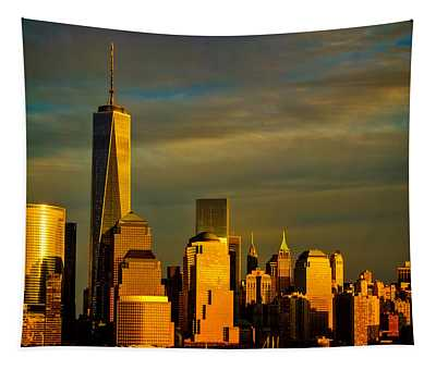 Sunset On The Financial District Tapestry